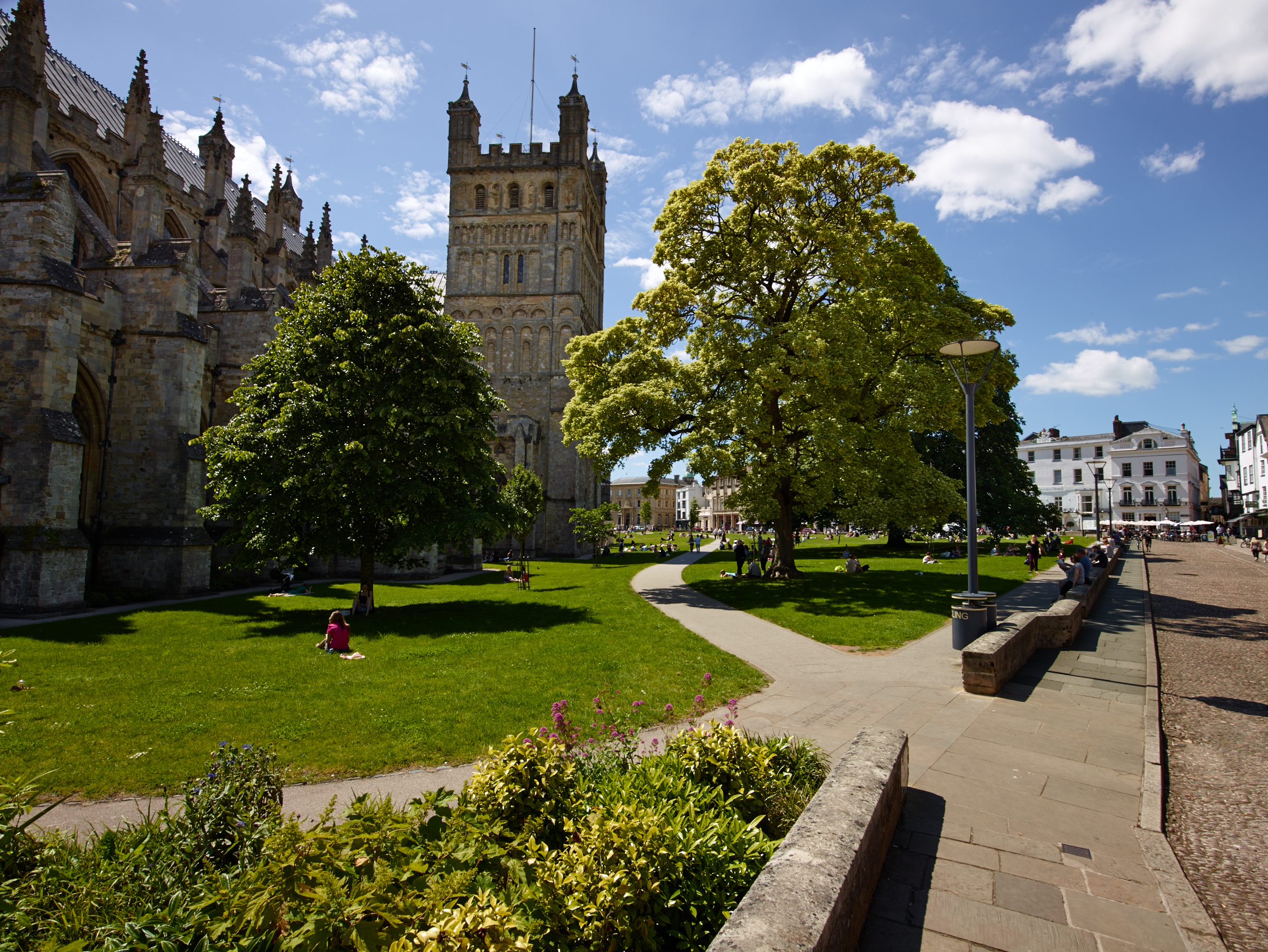 Redesigned pathways, Exeter Cathedral green
