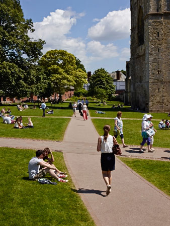 New paths across Exeter Cathedral green